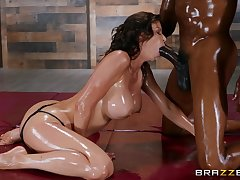 Superb Alexis Fawx is oiled up with a black lover and primed be useful to fun